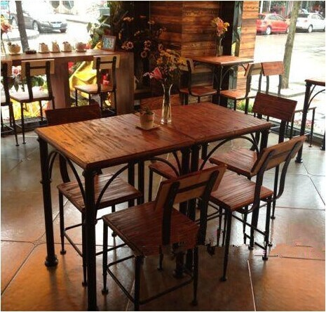 European Retro Restaurant Tables Wrought Iron Dining Table Square Wood Coffee Small Made Of Old Antique Fur