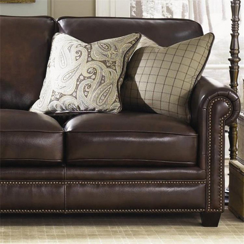 Leather sofa American style living room apartment model room sofa European furniture corner L-shaped combination leather sofa 4