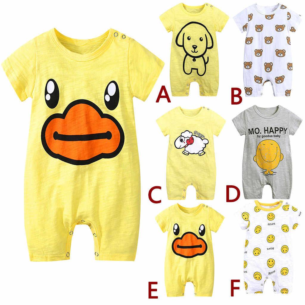 Pasgeboren Baby Kids Kleding Cartoon Gedrukt Eend Romper Jumpsuit Meisjes Kleding Set Baby jongens Kleding Pasgeboren kleding C626