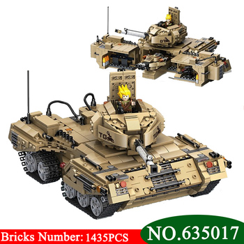 AIBOULLY 635017 NEW 1435Pcs Military Series Base Transformation Tank Weapon Building Block Brick DIY Toys For Children