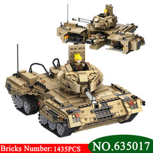 AIBOULLY 635017 NEW 1435Pcs Military Series Base Transformation Tank Weapon Building Block Brick Legoings DIY Toys For Children(China)