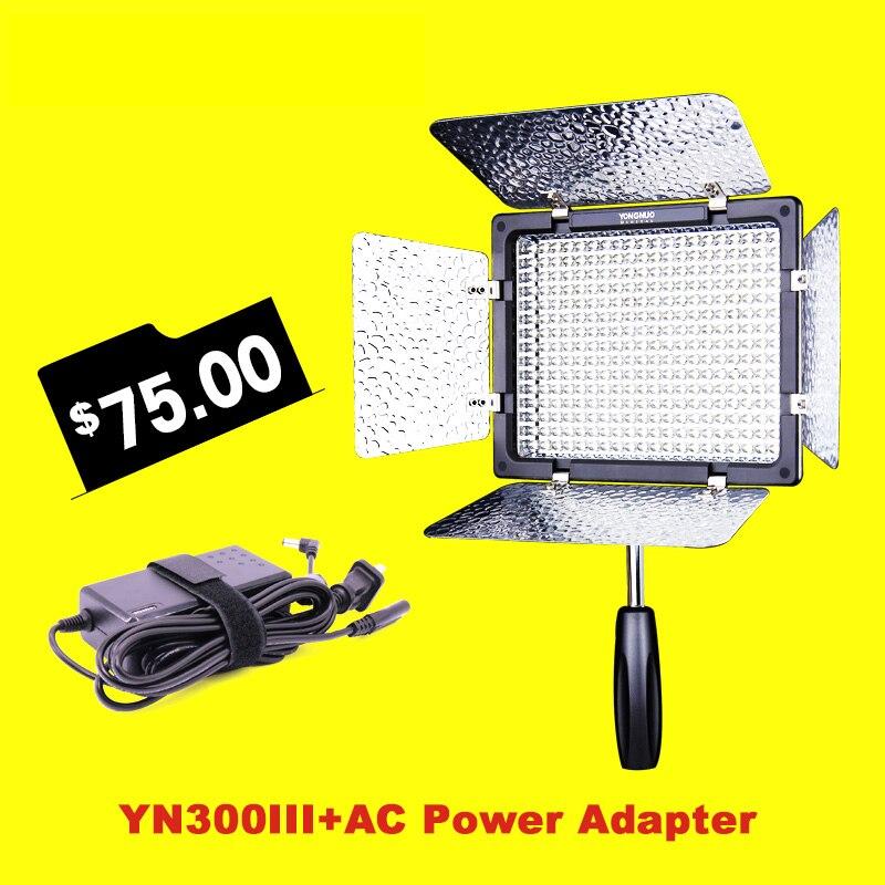 YONGNUO YN300III YN300 III 3200k to 5500K Photo Studio LED Video Light & Power Adapter fill light for Wedding Vlog Youtube накамерный свет yongnuo led yn 160 iii 3200 5500k
