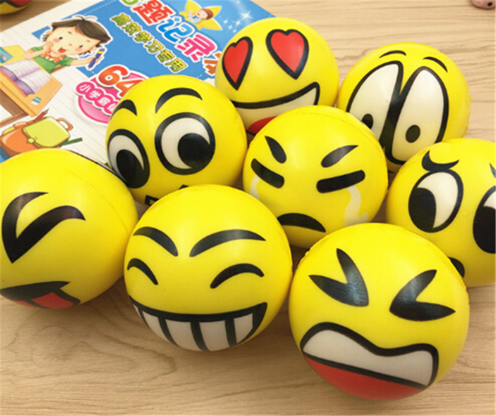 1pcs Funny Face Squeeze Toy Balls Emotional Hand Wrist Exercise Stress Balls Kids Children Toys Anti Stress Reliever Ball