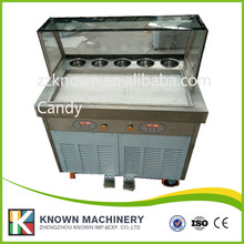 Fried Ice Cream Machine Single Pan Ice Cream Roll Machine with Salad Fruits Workbench 5pcs Tanks Cooling