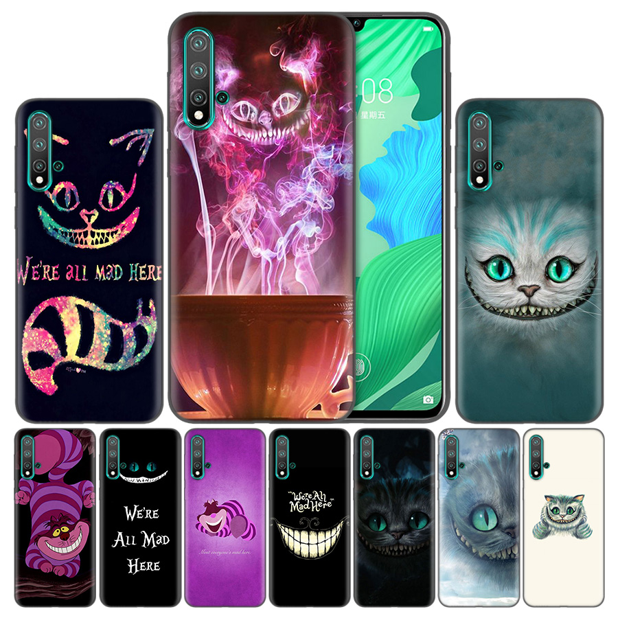 Bags Shell Silicone <font><b>Cases</b></font> For <font><b>Huawei</b></font> Honor 20 P20 P Smart Z Nova 5 Y6 <font><b>Y7</b></font> Y9 lite Pro Plus 8X <font><b>2019</b></font> Alice in Wonderland Cheshire C image