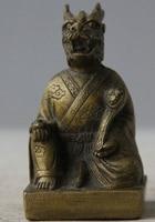 187@g++Old Chinese Folk Copper Zodiac Year Dragon Animal Wealth Ru Yi Statue Sculpture
