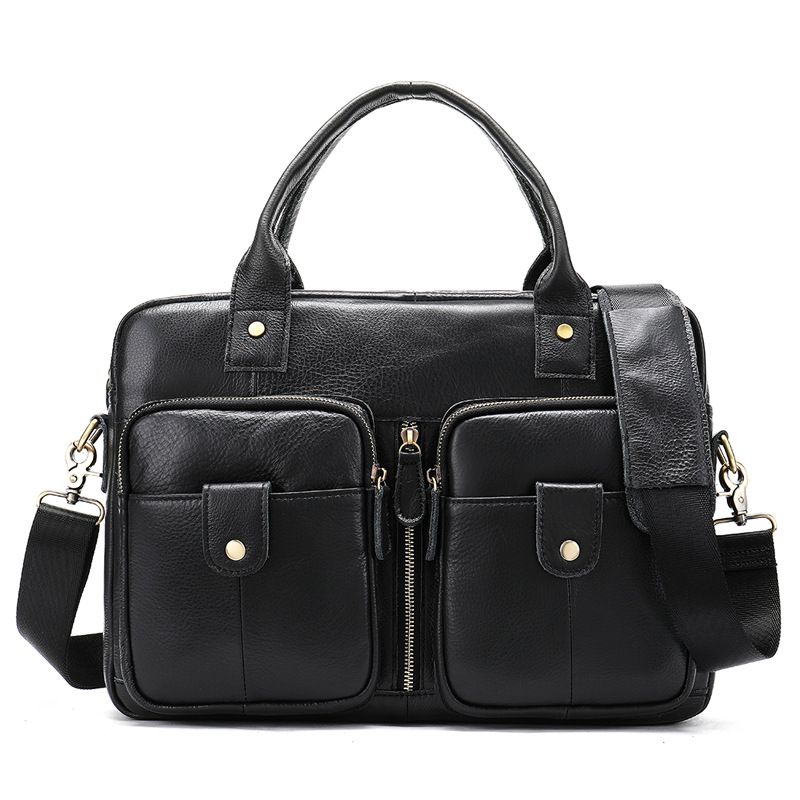 Men's Briefcase Vintage Real-Leather Tote Computer-Bag Business New Male 100%Cow