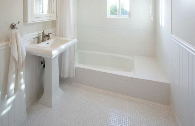 Simple White Hexagon Porcelain Ceramic mosaic tile, Shower room Anti ...