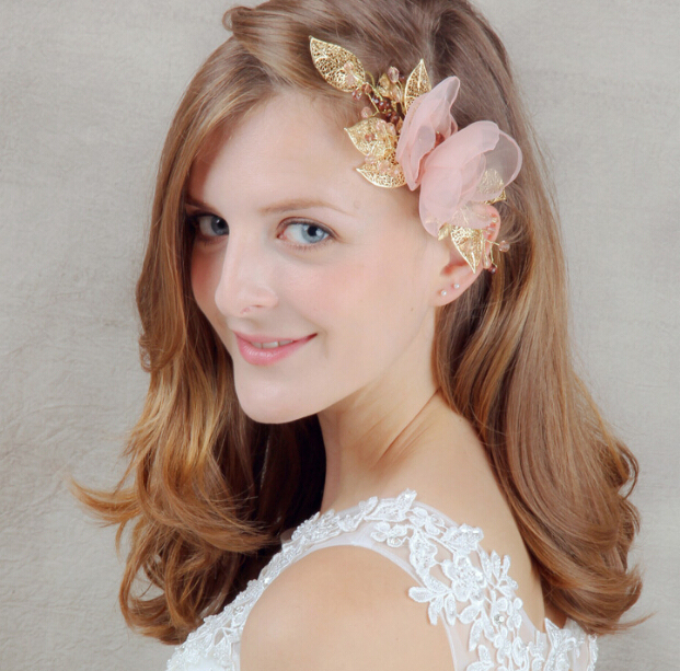 35bff00ecc3 High-end pink flower bridal hair accessories gold leaf bridal headpiece hair  accessories vintage wedding