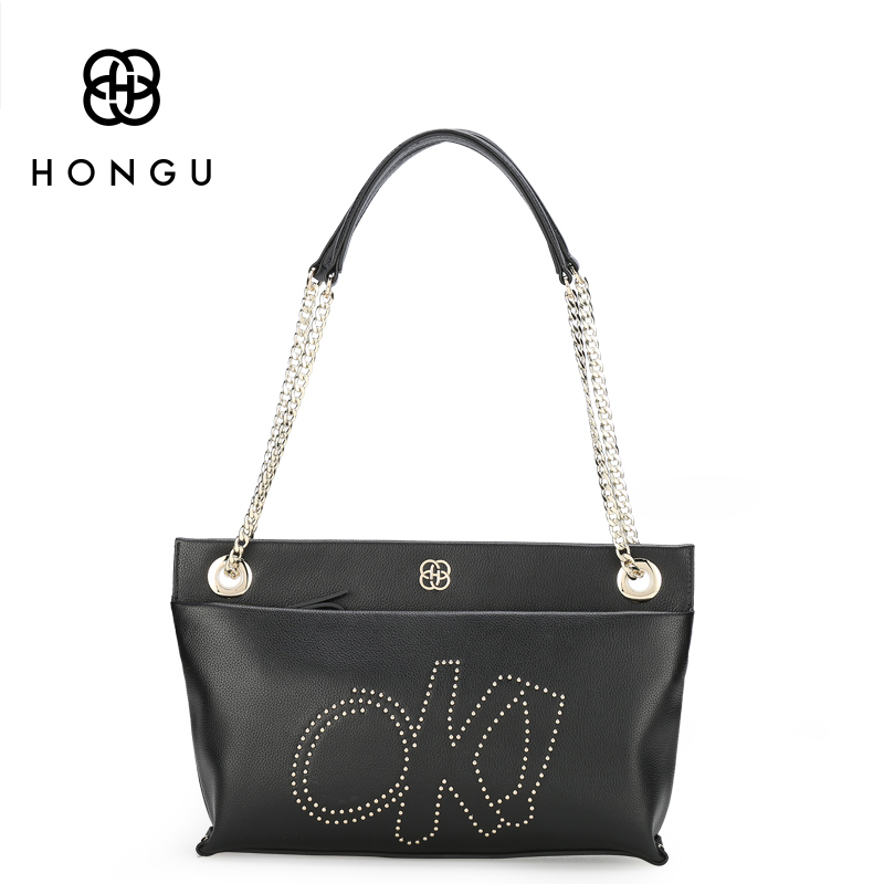 HONGU Women Genuine Leather Handbags Designer Casual Chains Messenger Crossbody Bags Hobo Stylish Ladies Shoulder Purse 2017 New hongu genuine leather crossbody shoulder bags for women designer handbags high quality small square casual side purse