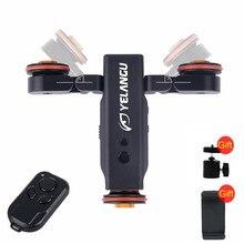 Yelangu l4 동력 된 돌리 무선 원격 제어 휠 도르래 자동차 레일 트랙 아이폰 dslr 카메라 스마트 폰을위한 돌리 슬라이더