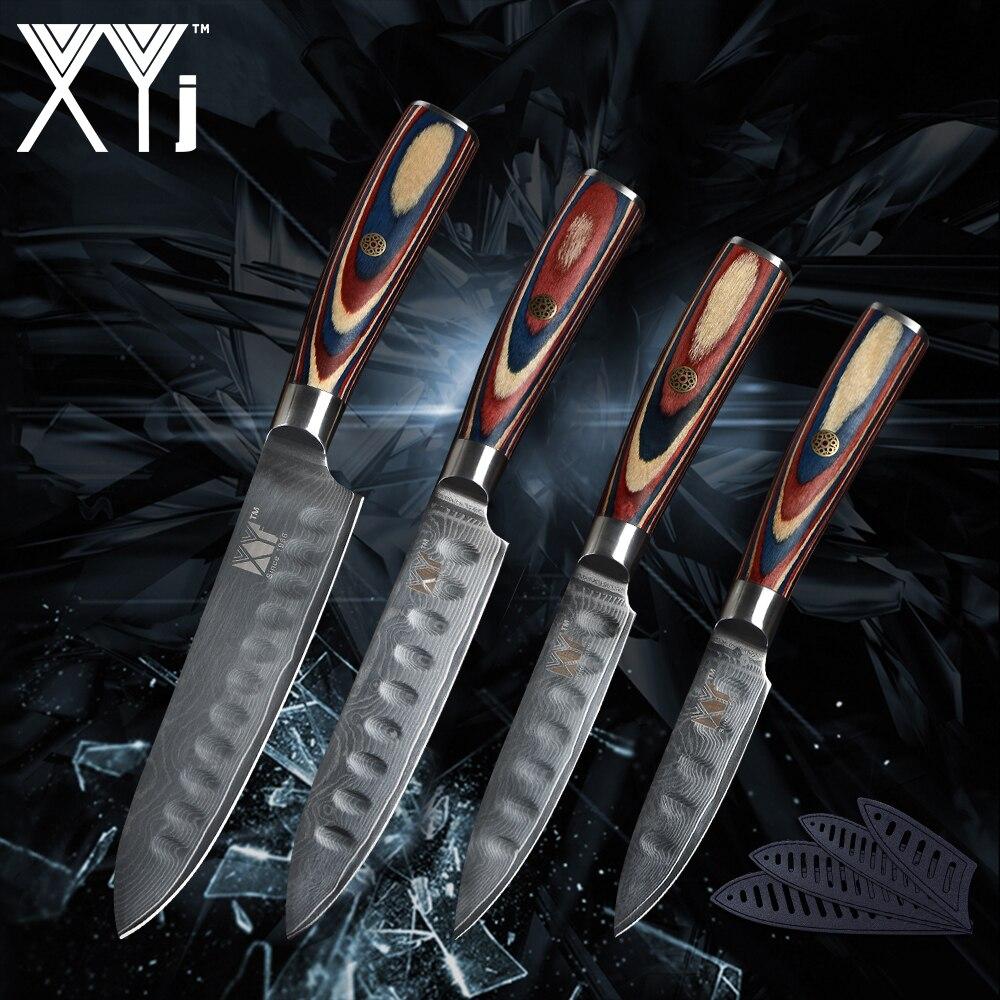 XYj 4 pièce Ensemble Cuisine Couteaux VG10 Damasucs Lame En Acier Couleur Manche En Bois Couteaux Japonais Style Poissons Fruits Accessoires De Cuisine
