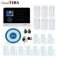 SmartYIBA WiFi 3G WCDMA Alarm System Metal Remote Control Wireless Blue Siren Door Gap Alarm PIR