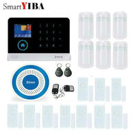 SmartYIBA WiFi 3G WCDMA Alarm System Metal Remote Control Wireless Blue Siren Door Gap Alarm PIR