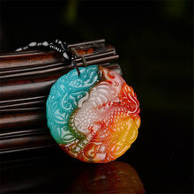 Hot Sale Xinjiang Gold Silk Chicken Blood Jadeite Flowering Kirin Pendant Seven Colors Onyx Attract Wealth Pendant Necklace(China)
