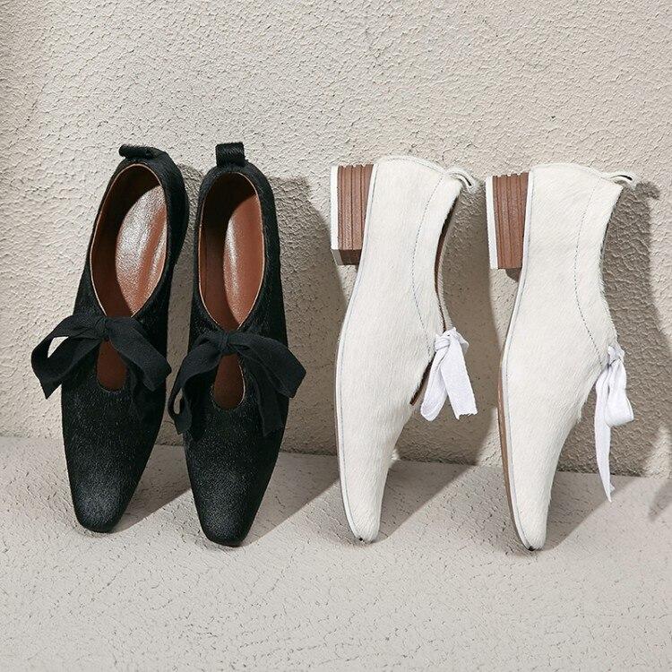 Appartements Crin Femmes Nouveau Mode Dames De Mocassins Doux blanc Bout Plates Casual 2019 Robe Pointu Noir D'été Chaussures H92EDI