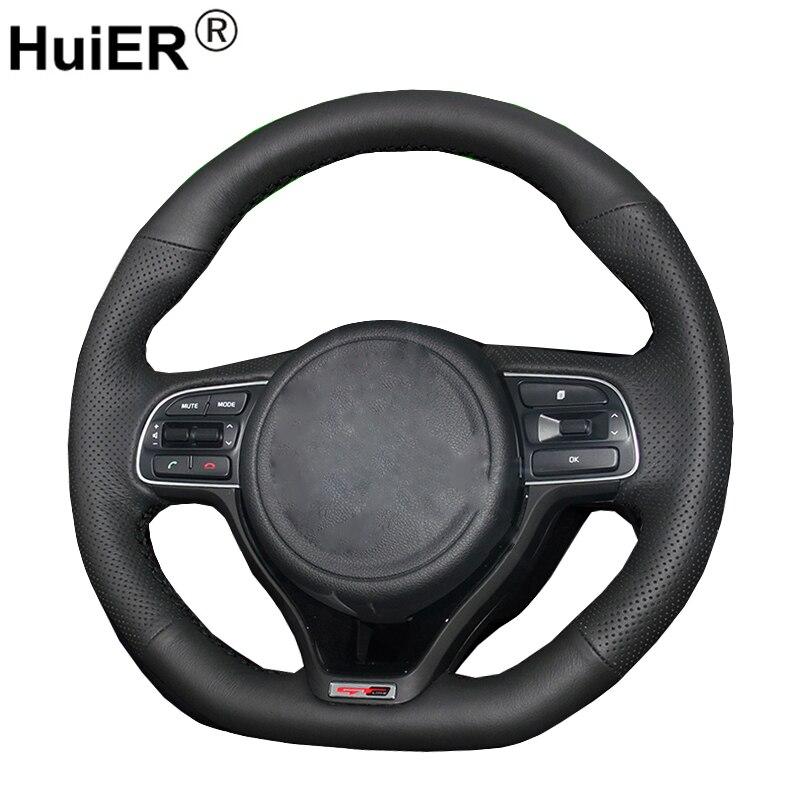 HuiER ручной швейной машине Руль Обложка черный кожа для Kia K5 2016 (Спорт) sportage 4 KX5 2016 автомобилей Стайлинг авто аксессуары