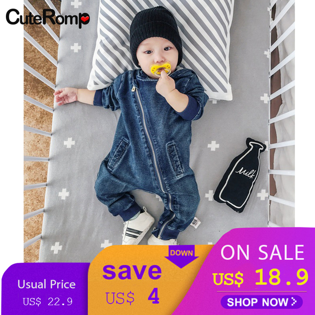db6ae79fe163 6-24M Baby cotton jeans boys jumpsuit cowboys clothes Hooded kids clothing