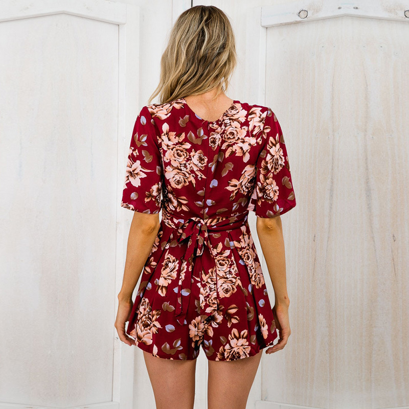 6c3b557eb060 Shorts Rompers Womens Jumpsuits Summer Ladies Red Sexy Deep V Neck Short  Sleeve Floral Tie Waist Casual Jumpsuit XS XL-in Rompers from Women s  Clothing on ...