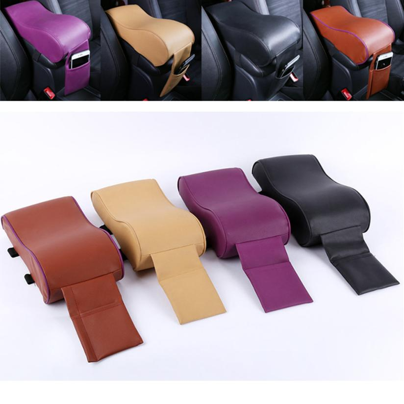 CARPRIE 1PC Durable Leather Car SUV Center Box Armrest Console Soft Pad Cushion Cover PU(Polyurethane) Leather Cushion Black