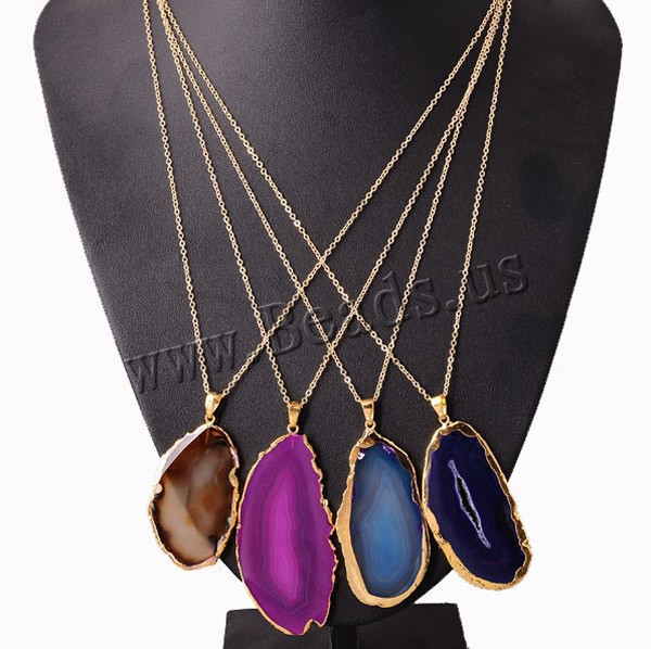 Wholesale Irregular Natural Stone Colorful Quartz Crystal Necklace AgateSlice Pendant Gold Color Plated Chain Necklace Jewelry fashionable foot style gold plated crystal inlaid necklace golden