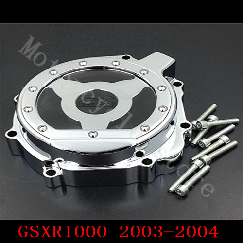 For Suzuki GSXR600 GSXR750 2004-2005 GSXR1000 2003-2004 GSXR 600 750 Motorcycle see through Engine Stator Cover Chrome Left side fit for suzuki gsxr1000 gsxr 1000 2005 2008 motorcycle engine stator cover see through black left side k5 k7