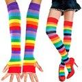 Um Par Mulheres Moda Cosplay Rainbow Listrado Colorido Malha Coxa-alta Meias Longas Luvas Sem Dedos SH093