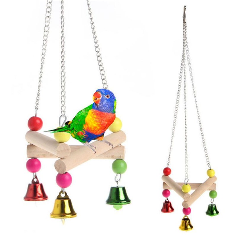 Pet Bird Hanging Swing Toy Birds Cage Pendant Chew Toy Colorful Parakeet Cockatiel Catch Cage With Bell Chewing Toys Drop Ship