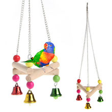 Pet Bird Hanging Swing Toy Birds Cage Pendant Chew Toy Colorful Parakeet Cockatiel Catch Cage with Bell Chewing Toys drop ship(China)