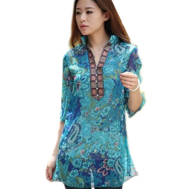 Women Cool Blouse 2016 Women Long Chiffon Blouse Printing Chiffon Shirt Floral Female Blouse Feminina Blusas Plus Size 5XL 45