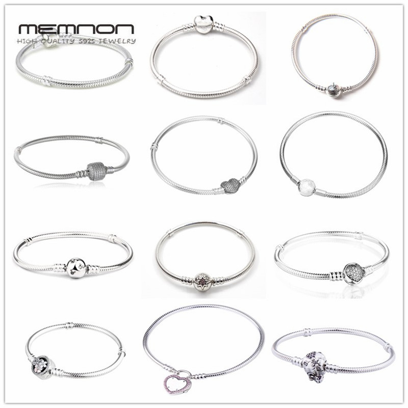 Memnon Sparkling Dazzling Moments Bangles Fireworks Clasp 925 Sterling Silver Bracelets Fit Silver Charm Diy Bangle For Women Jewelry & Accessories