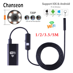 Chanseon 8mm Wifi Endoscope Camera HD 1m 2m 3.5m 5m Cable Inspection USB Endoscope Camera for Iphone iOS Waterproof Borescopes