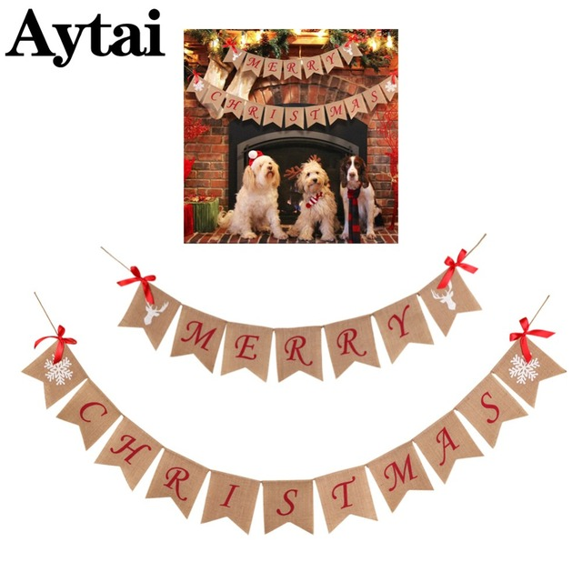 aytai merry christmas burlap banner letter bunting flags window outdoor home party decor garland string flag - Merry Christmas Burlap Banner