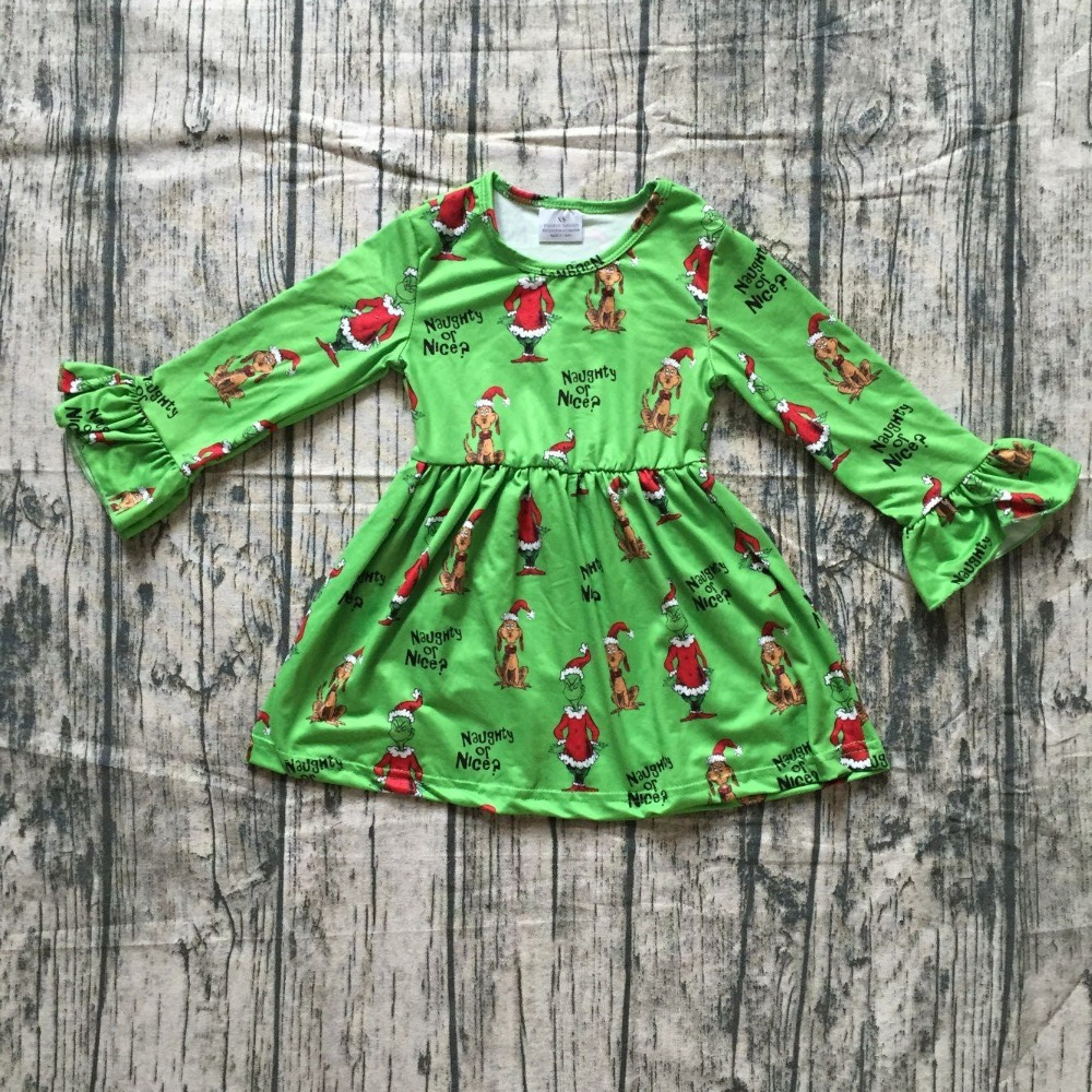 baby kids Fall / Autumn dress girls grinch print dress baby girls Christmas party long sleeve dress girls naughty or nice dress 3 4 sleeve tribal print shift mini dress
