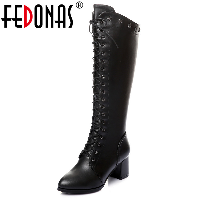 FEDONAS Punk High Quality Women Knee High Boots High Heels Corss-tied Knight Boots Ladies Autumn Winter Shoes Woman High Boots wetkiss buckle knee high boots thick high heels knight boots platform shoes woman autumn winter boots cool winter shoes woman