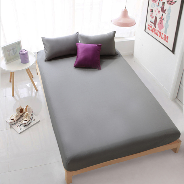 HOT Cotton Solid Bed Sheet Grey Fitted Sheet Mattress Cover Bedding Sheets  Deep 30cm Bedsheet White