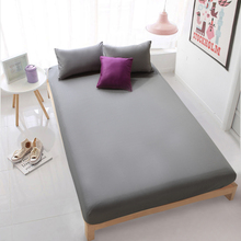 HOT Cotton Solid Bed Sheet Grey Fitted Sheet Mattress Cover Bedding Sheets Deep 30cm Bedsheet White Bedclothes 19 Colors