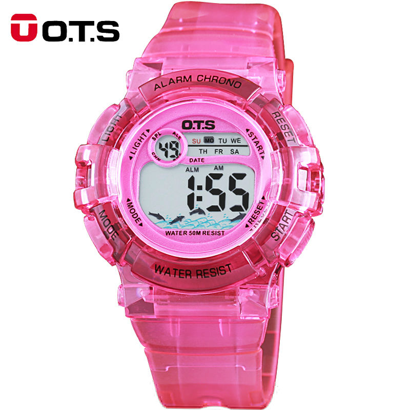 New Arrival OTS Brand Children Sports Watch Candy Color Silicone Kids Watches Dress Digital Waterproof Wristwatch