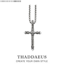 Cross Black Link Necklace,2017 Brand New Ts Chain Fashion Jewelry Thomas Style Rebel Cross Bijoux Gift For Men & Women Friend(China)