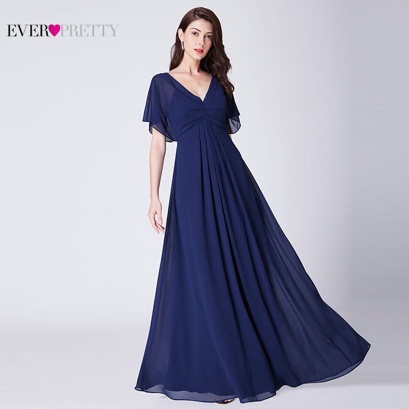 Ever Pretty Long Chiffon Formal   Evening     Dresses   With Ruffles Robe De Soiree 2018 New Elegant A Line Open Back Party Gown EP07421