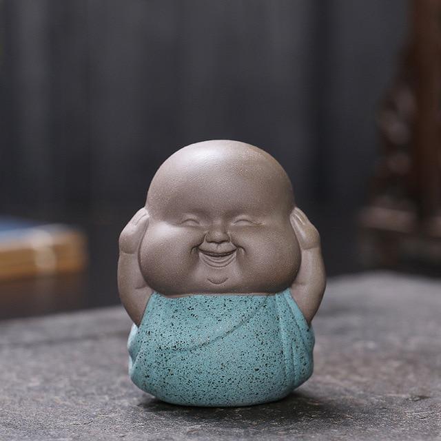 3pcs Mini Buddha Statues Monks Decorative Sculptures Ceramic Figurine India Yoga Home Monks Sculpture Buda Dropshipping 3