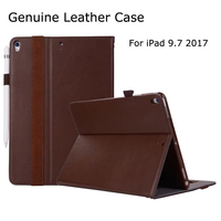 Case for iPad 9.7 2017, Genuine Leather Business Folio Stand Holder Strap Case for iPad 9.7 inch 2017