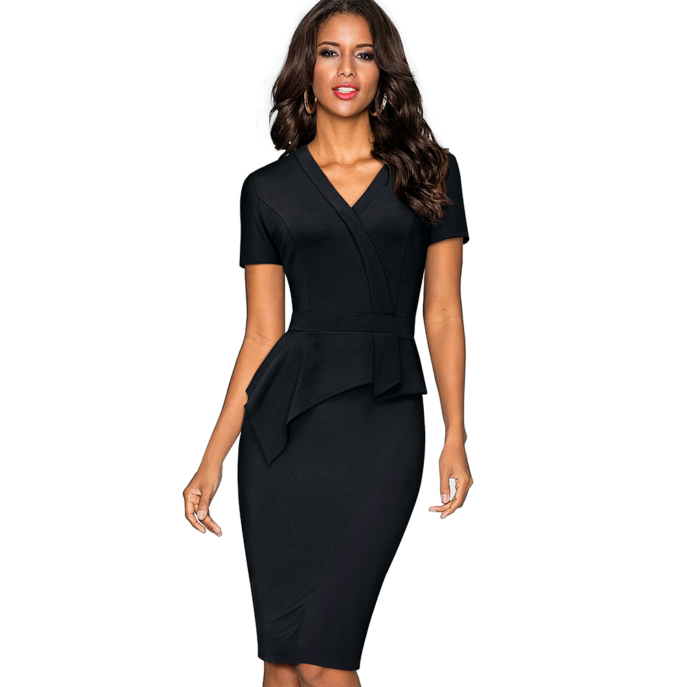 Women Elegant Work Office Business Bodycon Slim Pencil Dress Casual  One-piece V Neck Peplum 838104a101d0