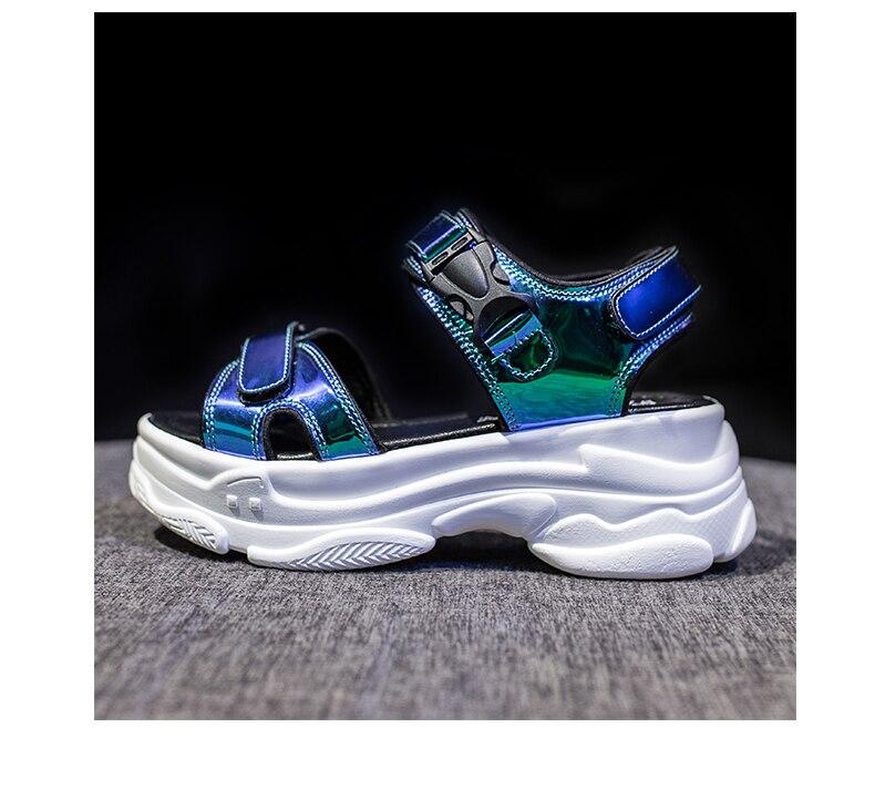 HTB1U0fuaoCF3KVjSZJnq6znHFXaD Women Sandals 2019 New Summer Sandals Ladies Casual Shoes Women Bling Wedges Buckle Strap Platform Shoes 5 CM Sandalias Mujer