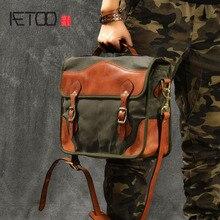 купить AETOO Oil wax canvas stitching vegetable tanned leather Art retro messenger bag men fashion slung handbag по цене 6520.41 рублей