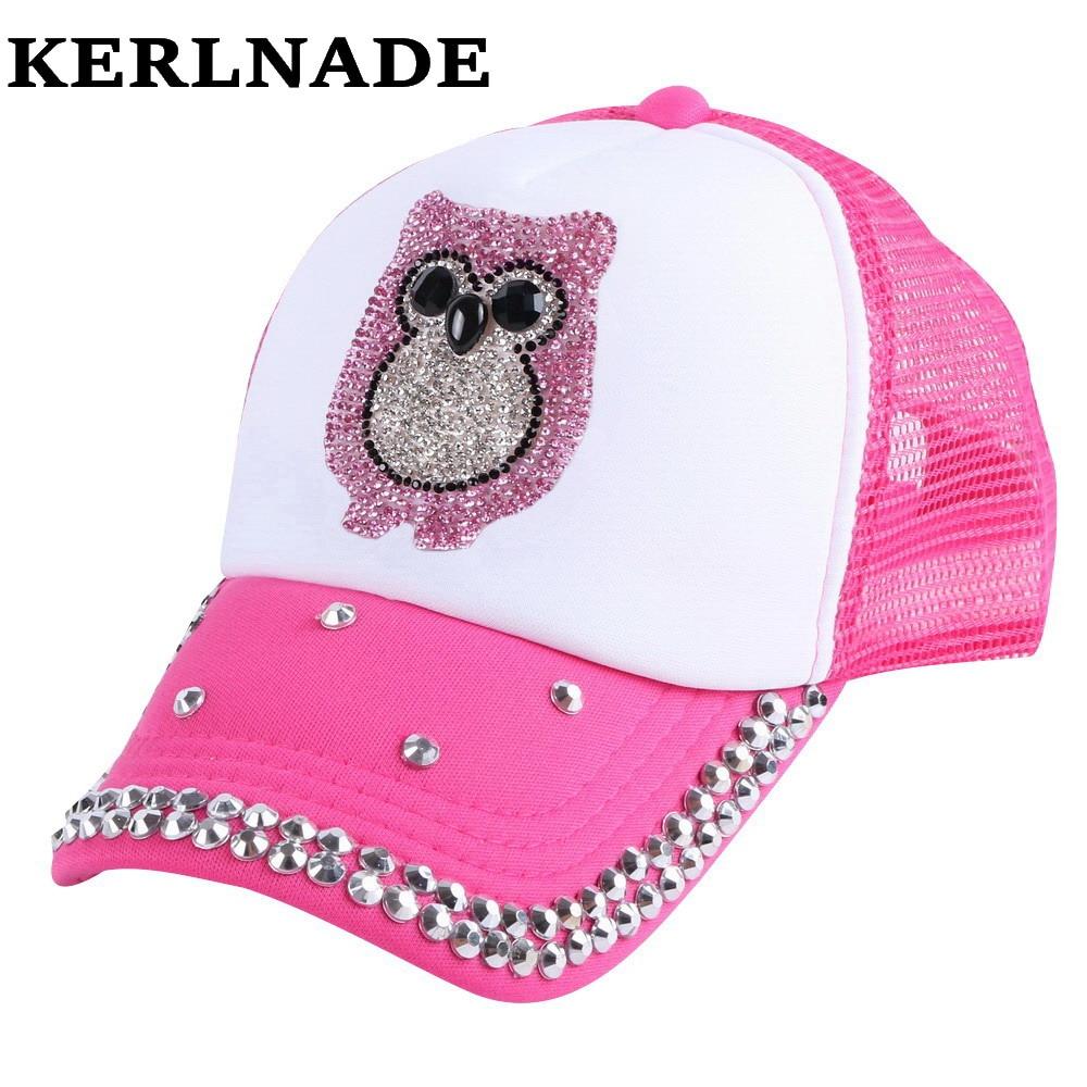 Promoción niños marca verano gorra de béisbol de encargo fucsia hecho a  mano cristal búho animal diseño chica boy niños lindos sombreros del  snapback fc53a25e3f7