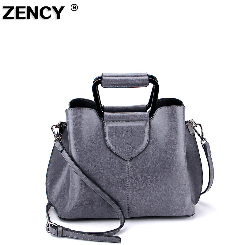 ZENCY Genuine Leather Second Layer Cow Leather New Fashion Famous Brand Women Tote Shopping Bags Female Shoulder Messenger Bag zency new women genuine leather shoulder bag female long strap crossbody messenger tote bags handbags ladies satchel for girls