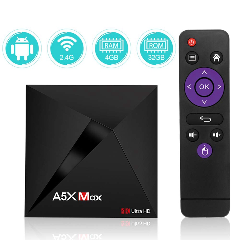 Image 2 - Android Tv Box A5X Max 4Gb Ram 32Gb Rom Rk3328 Quad Core Bluetooth4.0 2.4G/5.8G Dual Band Wifi Hd Set Top Box Dlna Airplay Med-in Set-top Boxes from Consumer Electronics