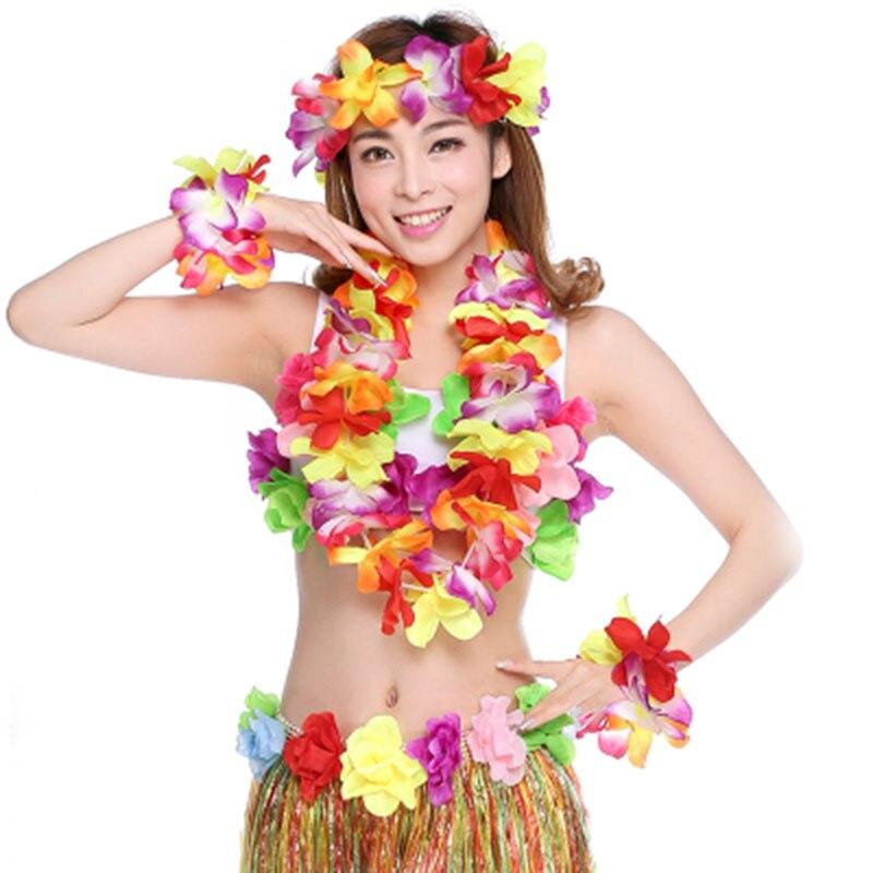 Hawaiian Fancy Dress 4 Piece Lei Garland Set Hawaiin Beach Party Neon Colors Set
