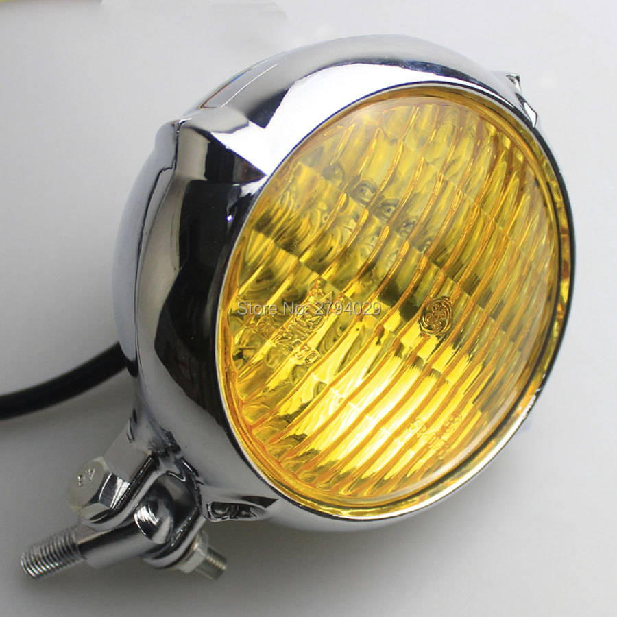 Motorcycle Custom Bates Style Chrome Housing Amber Lens HeadLight For  Harley Bobber Chopper Softail Springer Cafe Racer on Aliexpress.com |  Alibaba Group